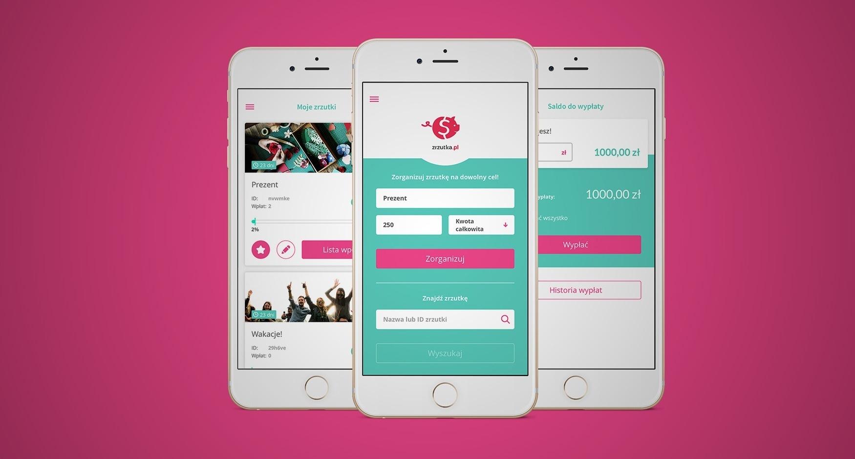 Aplikacja mobilna zrzutka.pl - mamy to!