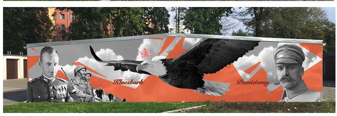 Patriotyczny mural w Kluczborku.