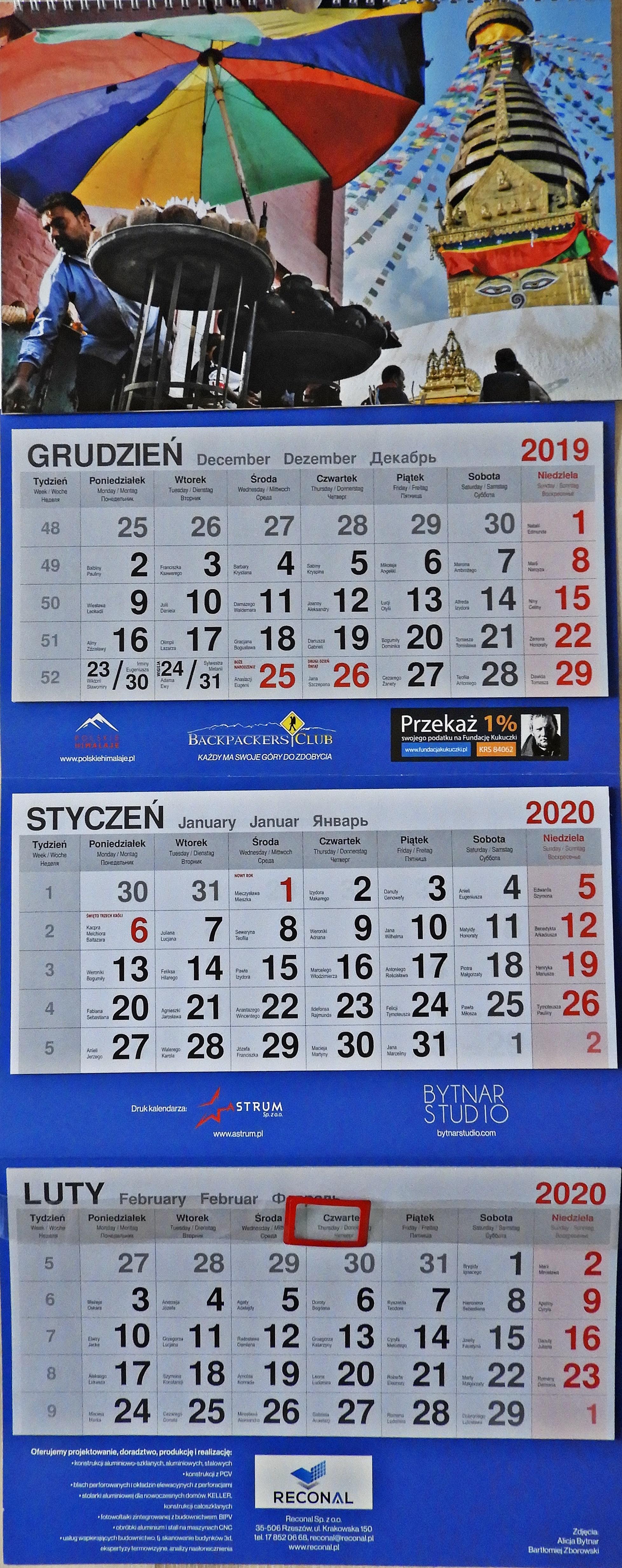 kalendarz 2020 z płytką DVD
