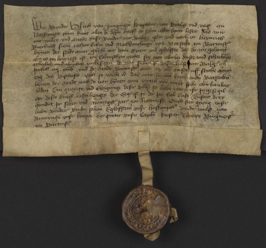 Faksymile dokumentu Ulryka lub Konrada von Jungingen z pieczęcią lub bez.