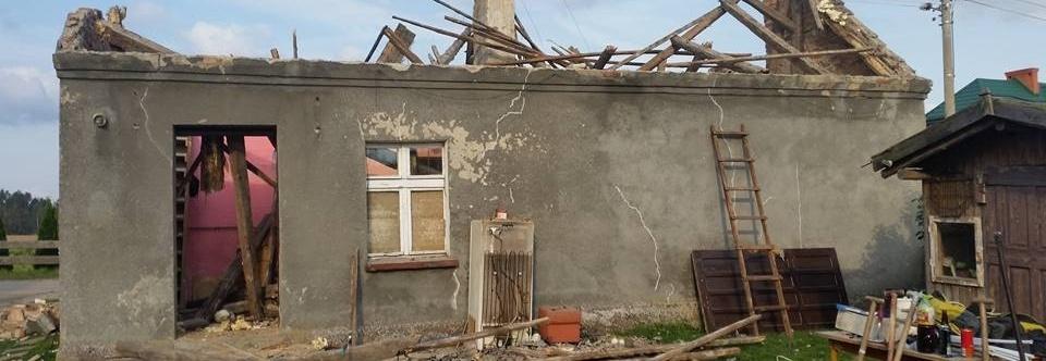 Pomoc rodzinie w potrzebie po nawałnicy - wieś Małe Glisno, gmina 89-632 Brusy
