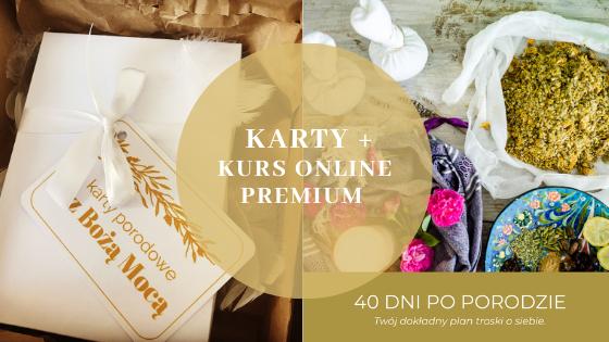 """Zestaw Kart porodowych z Bożą Mocą w ładnym pudełku +  mój autorski eBook/kurs online """"40 dni po porodzie. Twój dokładny plan troski o siebie"""" w wersji Premium"""