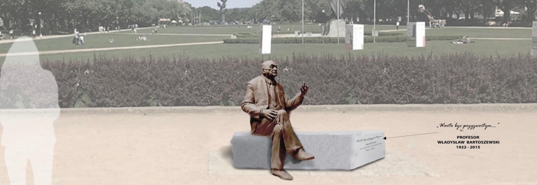 Budowa pomnika - ławeczki profesora Władysława Bartoszewskiego w Szczecinie