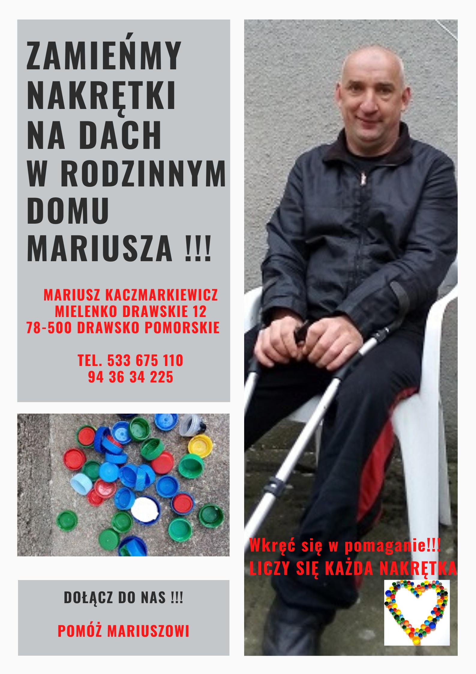 Przedsiębiorca ze Złocieńca chce pomóc Mariuszowi ! Ruszyła też zbiórka publiczna
