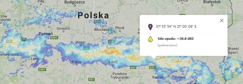 Dane radarowe od IMGW - aplikacja radar-opadow.pl