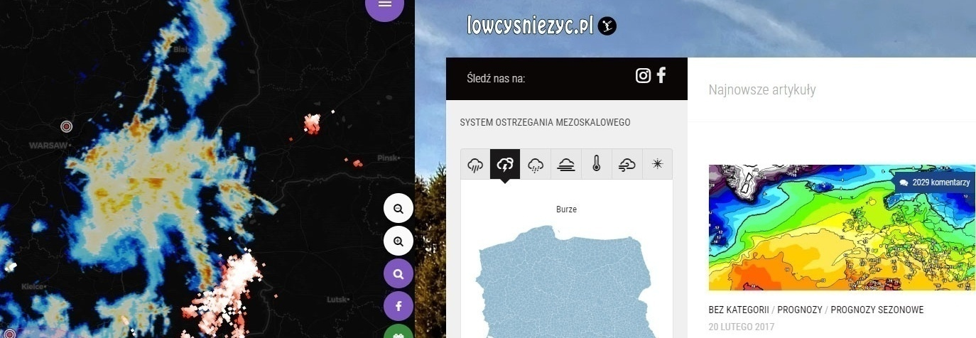 Serwer radar-opadow.pl/lowcysniezyc.pl