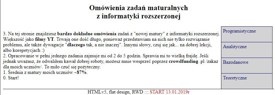 Profesjonalne opracowywanie zadań maturalnych z informatyki na http://matinf.buz.info.pl